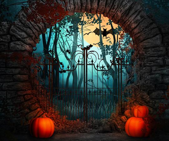 scary gate halloween backdrop - Halloween Backdrop